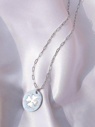 Steel necklace 40+5cm Titanium Steel Shell Clover Minimalist Necklace