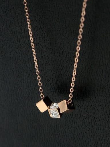 Titanium Rhinestone Geometric Minimalist pendant Necklace