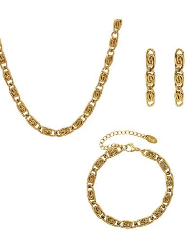 Titanium Steel  Hip Hop Irregular Earring Braclete and Necklace Set