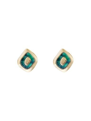 Copper With Enamel Minimalist Geometric  Stud Earring