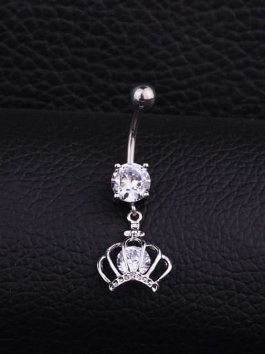 Section B (Single) Stainless steel Cubic Zirconia Flower Hip Hop Belly studs & Belly Bars