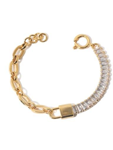 Gold Bracelet Brass Cubic Zirconia Geometric Vintage Bracelet