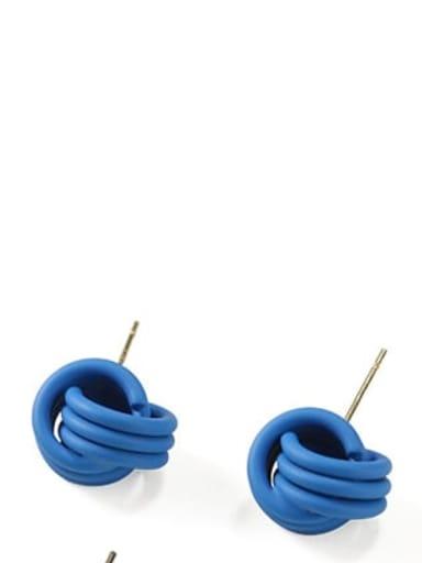 blue Brass Enamel Geometric Cute Stud Earring