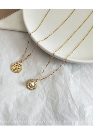 Zinc Alloy Imitation Pearl White Number Trend Number Necklace