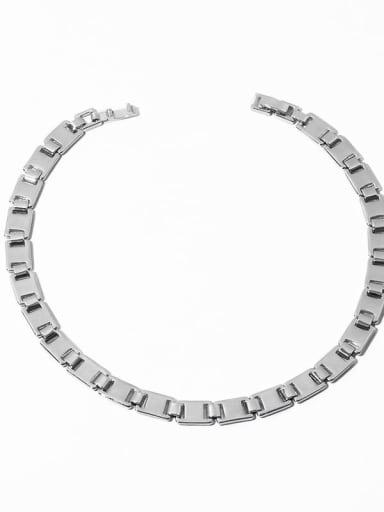 Platinum necklace Brass Smooth Geometric Chain Minimalist Choker Necklace