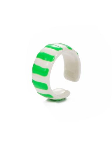 stripe Zinc Alloy Enamel Geometric Minimalist Band Ring