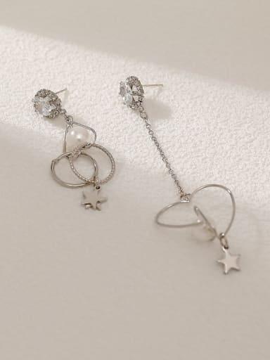 White K Brass Imitation Pearl Heart Minimalist Hook Earring