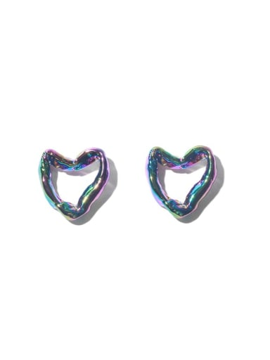 Brass Hollow Heart Vintage Stud Earring