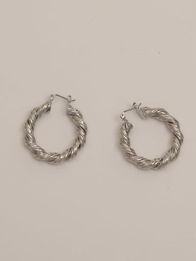 White K Brass Twist Round Vintage Hoop Earring