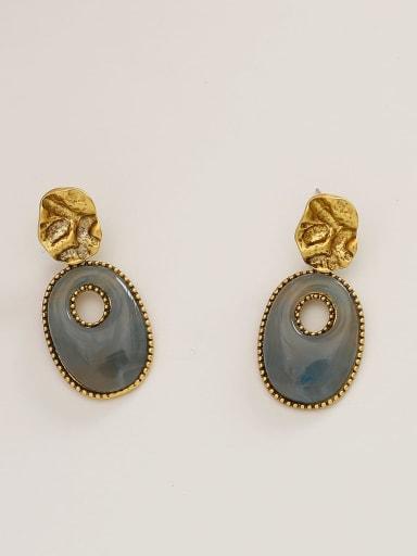 Cool blue Brass Resin Geometric Vintage Drop Earring