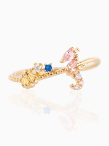 a hippocampus Brass Cubic Zirconia Irregular Minimalist Band Ring