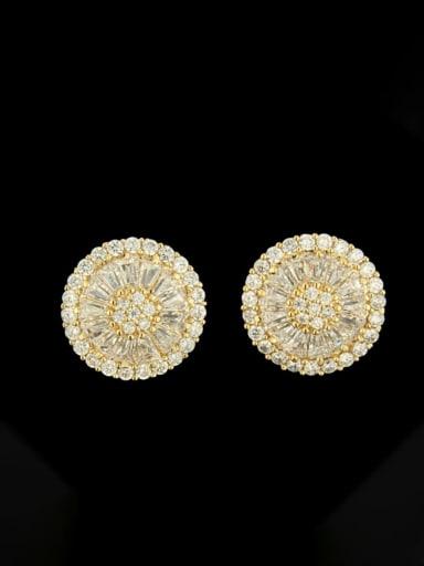 Brass Cubic Zirconia Round Luxury Stud Earring