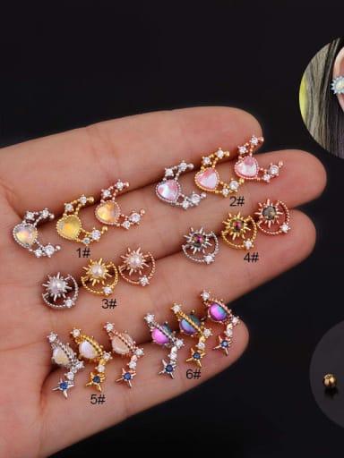 Brass with Cubic Zirconia Multi Color Flower Minimalist Stud Earring(single)