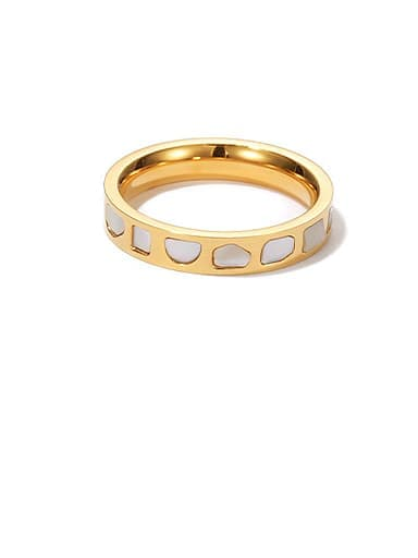 Gold round ring Titanium Steel Shell Geometric Minimalist Band Ring
