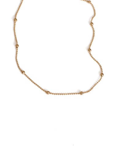 Round bead chain necklace Brass Freshwater Pearl Geometric Vintage Necklace
