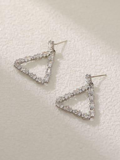 White K Brass Cubic Zirconia Triangle Vintage Drop Earring