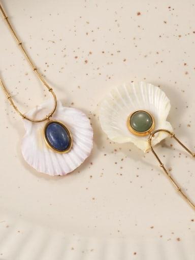 Brass Cats Eye Geometric Vintage Necklace