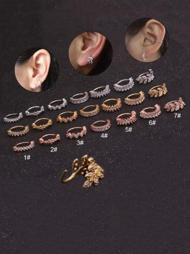 Brass Cubic Zirconia Geometric Leaf Hip Hop Huggie Earring