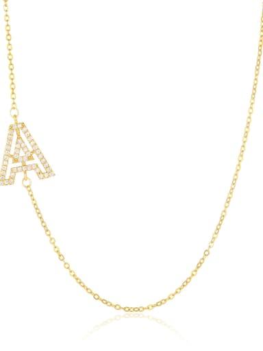 Brass Cubic Zirconia Letter Minimalist Necklace