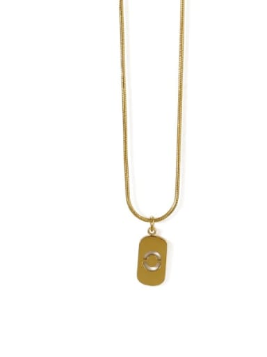Gold 0 Titanium Steel Number Minimalist Pendant Necklace