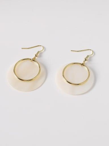 Brass Shell Geometric Minimalist Hook Earring
