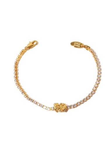 Brass Cubic Zirconia Geometric Minimalist Link Bracelet