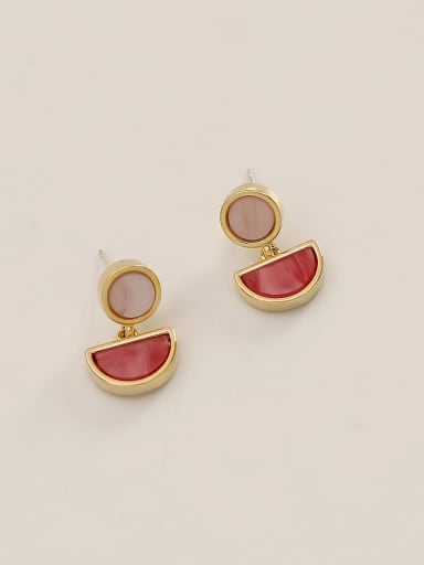 rose red Brass Shell Geometric Ethnic Drop Earring