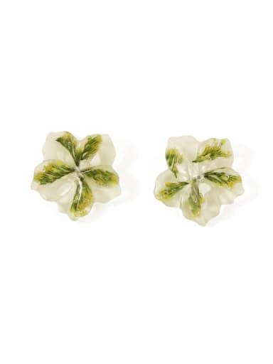 Green leaf ear clip Alloy Enamel Flower Cute Stud Earring