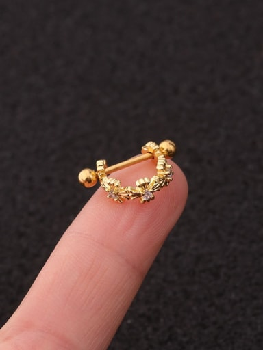 Golden Cross Brass  With Cubic Zirconia White Minimalist Single Earring