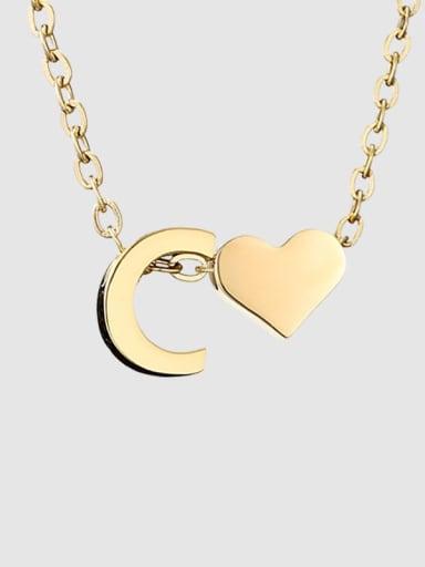 C 14 K gold Titanium Heart Minimalist Necklace