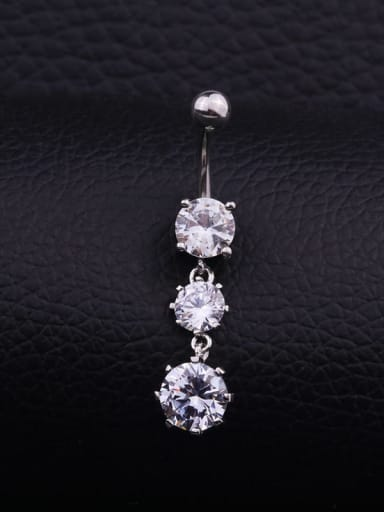 Section  C (Single) Stainless steel Cubic Zirconia Water Drop Hip Hop Belly Rings & Belly Bars