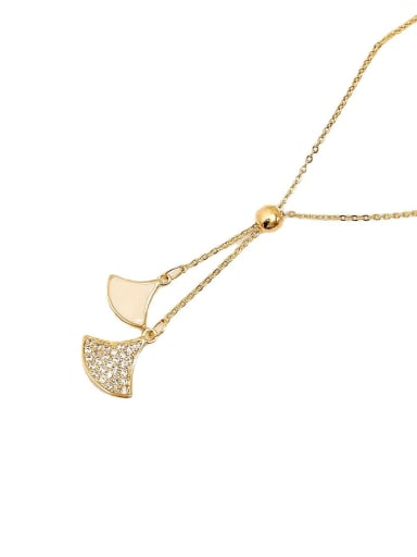 Brass Rhinestone Geometric Vintage Lariat Necklace