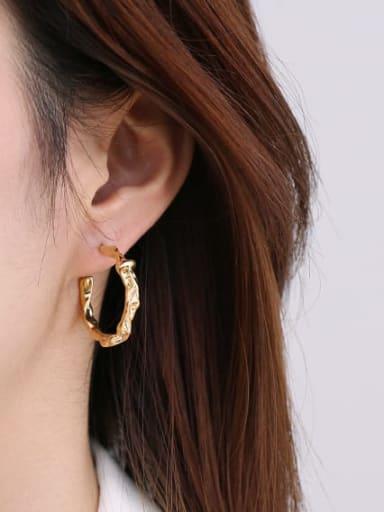 Brass Irregular Geometric Minimalist Stud Earring