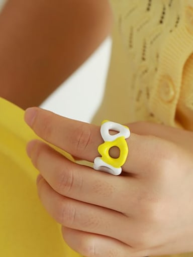 Yellow white contrast Brass Enamel Geometric Hip Hop Band Ring