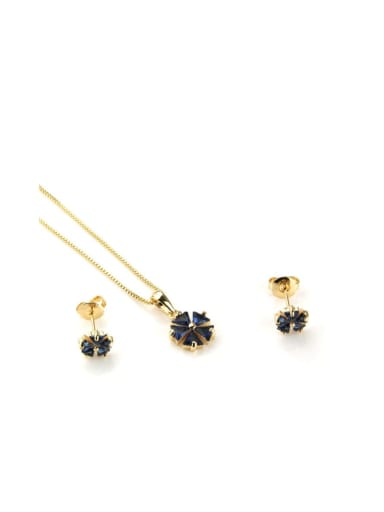 Gold Plated Blue Zircon Brass Dainty Clover Cubic Zirconia Earring and Necklace Set