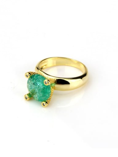 Gold Plated green Brass Opal Geometric Vintage Band Ring