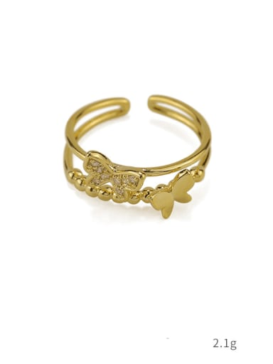 Section 4 Brass Cubic Zirconia Butterfly Vintage Band Ring