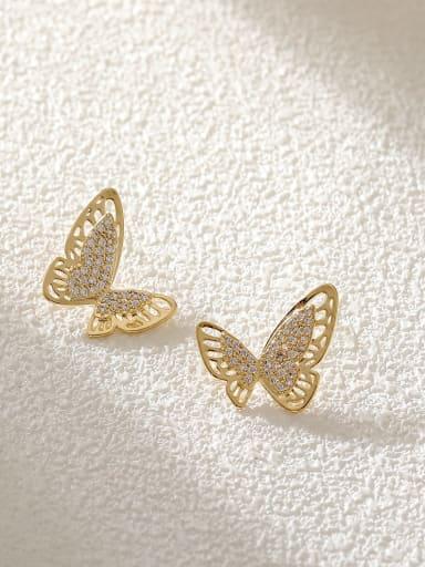 Brass Cubic Zirconia Butterfly Trend Stud Earring
