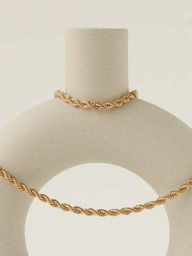 Titanium Steel Geometric Vintage Twist chain bracelet Necklace