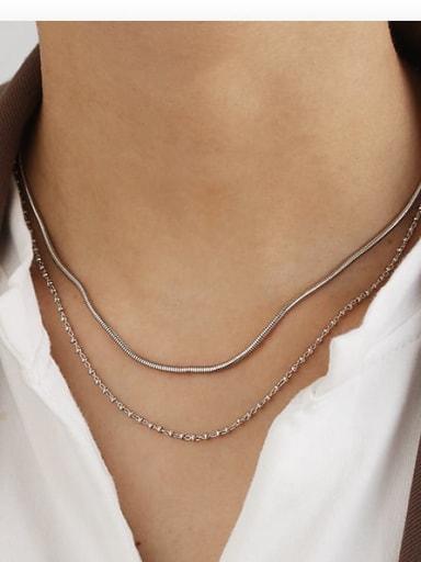 Platinum Brass Bead Geometric Hip Hop Multi Strand Necklace