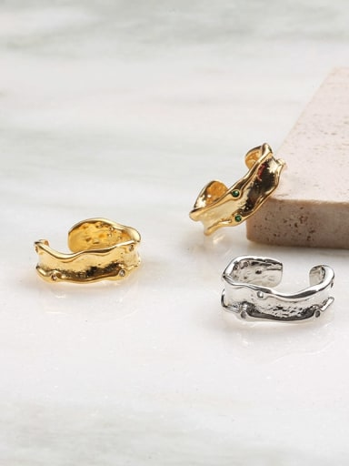 Brass Cubic Zirconia Irregular Vintage Band Ring