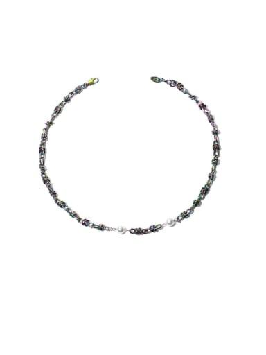 Inter chain Brass Geometric Hip Hop Beaded Necklace