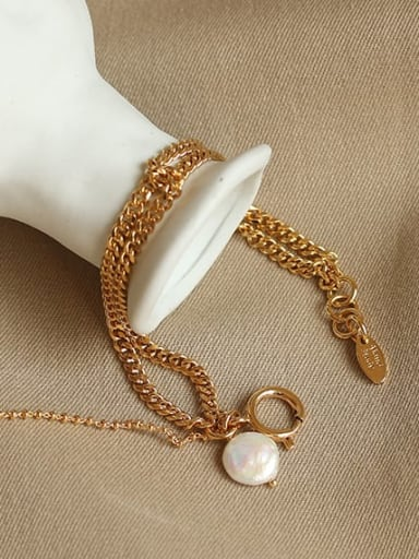 Brass Cats Eye Geometric Vintage Strand Bracelet