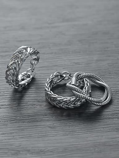 Titanium Steel Geometric Vintage Stackable Ring