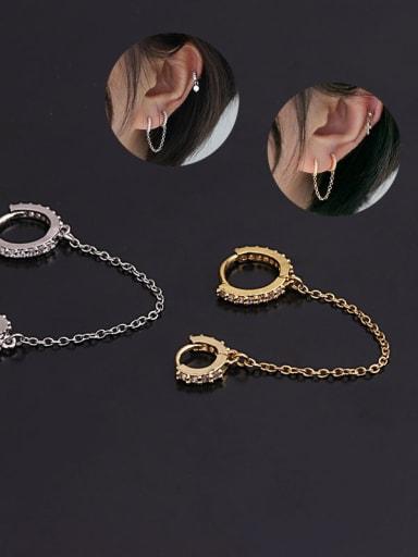 Brass Cubic Zirconia Tassel Minimalist Huggie Earring(Single)