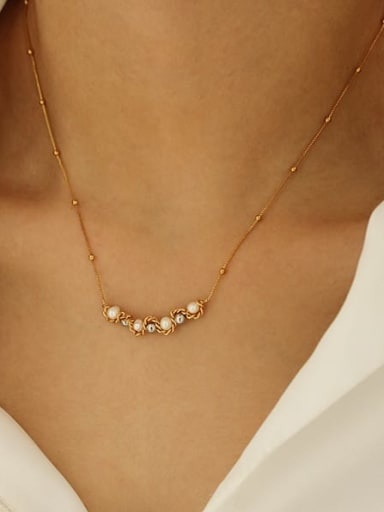 Steel colored copper bead Brass Bead Geometric Minimalist Necklace