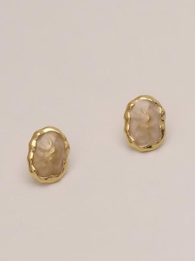 Milky white Brass Glass Stone Geometric Ethnic Stud Earring