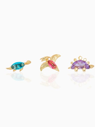 Brass Cubic Zirconia Multi Color Dinosaur Cute   single Stud Earring