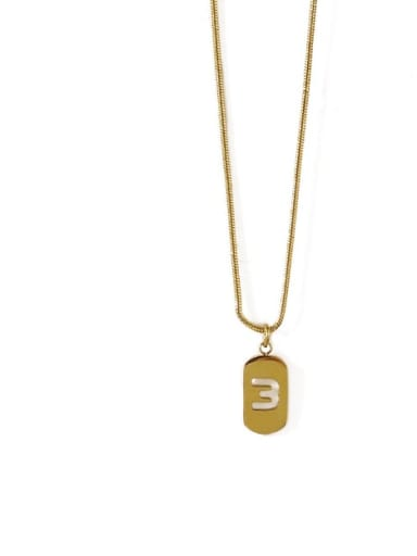 Golden 3 Titanium Steel Number Minimalist Pendant Necklace