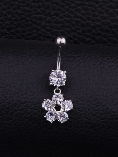 Section C (Single) Stainless steel Cubic Zirconia Flower Hip Hop Belly studs & Belly Bars
